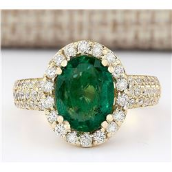 3.46 CTW Natural Emerald And Diamond Ring In 18K Yellow Gold