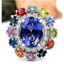 10.76 CTW Natural Tanzanite, Sapphire 18K Solid White Gold Diamond Ring