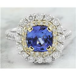 2.71 CTW Tanzanite 18K Two Tone Gold Diamond Ring