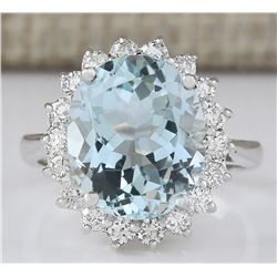 6.80 CTW Natural Aquamarine And Diamond Ring In 18K Solid White Gold