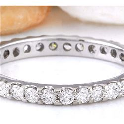 1.00 CTW Natural Diamond 18K Solid White Gold Ring