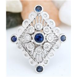 1.85 CTW Natural Sapphire 18K Solid White Gold Diamond Ring