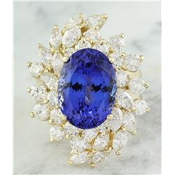 10.75 CTW Tanzanite 18K Yellow Gold Diamond ring