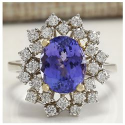 5.20 CTW Natural Tanzanite Diamond Ring 18K Solid White Gold