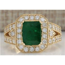 3.60 CTW Natural Emerald And Diamond Ring In 18K Solid Yellow Gold