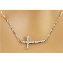 0.20 CTW Diamond 18K White Gold Cross Pendant Necklace