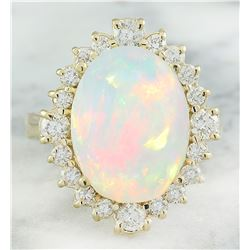 6.55 CTW Opal 18K yellow Gold Diamond Ring