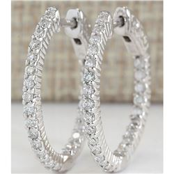 1.26 CTW Natural Diamond Hoop Earrings In 18K White Gold