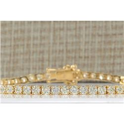 6.65CTW Natural Diamond Bracelet In 14K Solid Yellow Gold