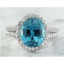 8.70 CTW Zircon 18K White Gold Diamond Ring