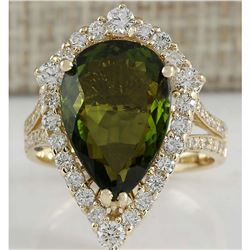 7.48 CTW Natural Green Tourmaline And Diamond Ring In 14K Yellow Gold