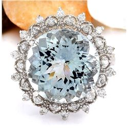 9.60 CTW Natural Aquamarine 18K Solid White Gold Diamond Ring
