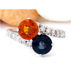 3.78 CTW Natural Sapphire 18K Solid White Gold Diamond Ring