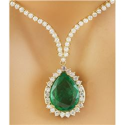 11.27 CTW Emerald 14K Yellow Gold Diamond Necklace