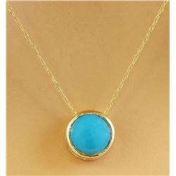 1.50 CTW Turquoise 14K Yellow Gold Necklace