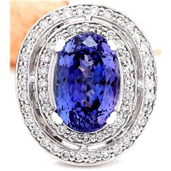 10.31 CTW Natural Tanzanite 18K Solid White Gold Diamond Ring