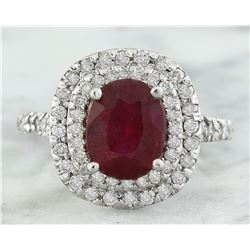 3.88 CTW Ruby 18K White Gold Diamond Ring