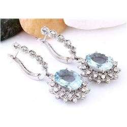 7.30 CTW Natural Aquamarine 18K Solid White Gold Diamond Earrings