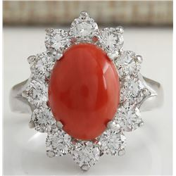 4.81 CTW Natural Red Coral And Diamond Ring In 14K White Gold