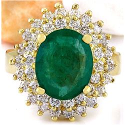 4.64 CTW Natural Emerald 14K Solid Yellow Gold Diamond Ring