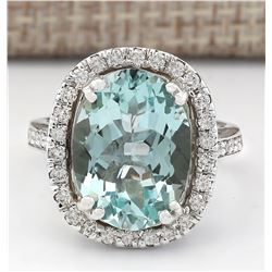 6.80 CTW Natural Aquamarine And Diamond Ring In 14k White Gold