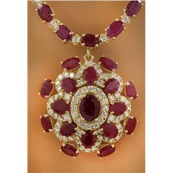 43.35 CTW Ruby 14K Yellow Gold Diamond Necklace
