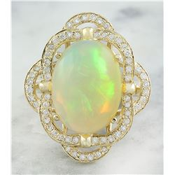 7.05 CTW Opal 14K Yellow Gold Diamond Ring