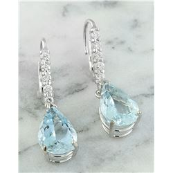 6.45 CTW Aquamarine 18K White Gold Diamond Earrings
