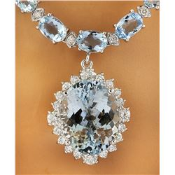 43.35 CTW Aquamarine 18K White Gold Diamond Necklace