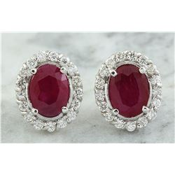 3.60 CTW Ruby 18K White Gold Diamond Earrings