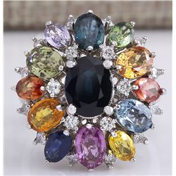7.68 CTW Natural Ceylon Sapphire And Diamond Ring In18K Solid White Gold