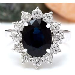 4.55 CTW Natural Sapphire 14K Solid White Gold Diamond Ring
