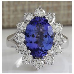 5.66 CTW Natural Blue Tanzanite And Diamond Ring In 14K White Gold