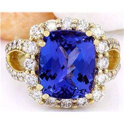 9.55 CTW Natural Tanzanite 18K Solid Yellow Gold Diamond Ring