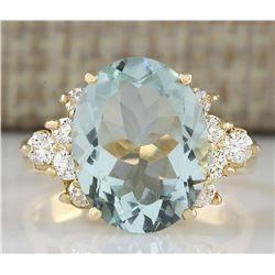 4.75 CTW Natural Aquamarine And Diamond Ring In 14k Yellow Gold