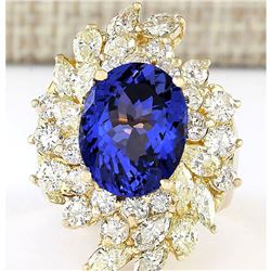 10.73 CTW Natural Tanzanite And Diamond Ring In 18K Yellow Gold