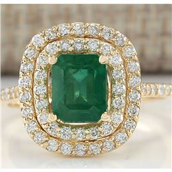 2.33 CTW Natural Emerald And Diamond Ring In 18K Yellow Gold