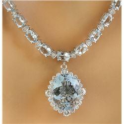 33.44 CTW Aquamarine 18K white Gold Diamond Necklace