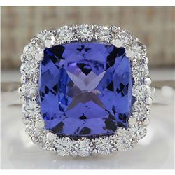5.33 CTW Natural Blue Tanzanite And Diamond Ring 18K Solid White Gold