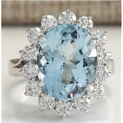 6.96 CTW Natural Aquamarine And Diamond Ring In 18K Solid White Gold