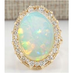 12.02 CTW Natural Opal And Diamond Ring In 14K Yellow Gold