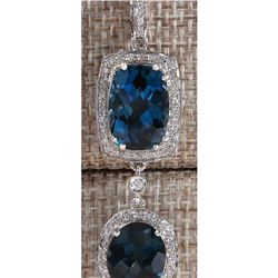14.19 CTW Natural Topaz And Diamond Pendant In 14K Solid White Gold