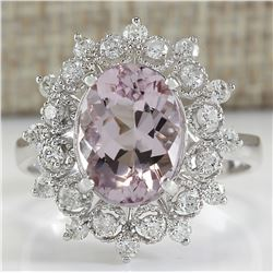 3.68 CTW Natural Morganite And Diamond Ring In 14K White Gold