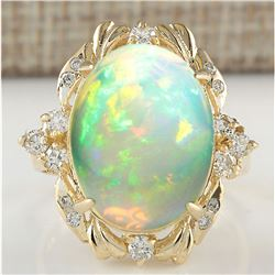 8.87 CTW Natural Opal And Diamond Ring In 18K Yellow Gold