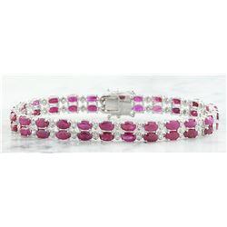 15.93 CTW Ruby 14K White Gold Diamond Bracelet