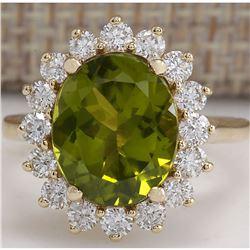 5.53 CTW Natural Green Peridot And Diamond Ring 14K Solid Yellow Gold