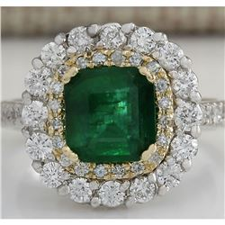2.88CTW Natural Emerald And Diamond Ring 14K Solid Two-Tone Gold