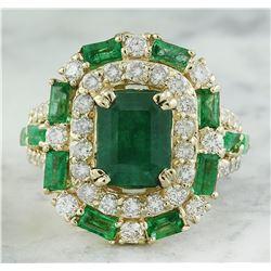 6.90 CTW Emerald 18K Yellow Gold Diamond Ring