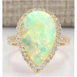 6.25 CTW Natural Opal And Diamond Ring In 14K Yellow Gold