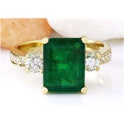 4.07 CTW Natural Emerald 18K Solid Yellow Gold Diamond Ring